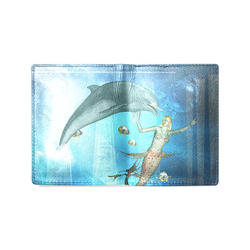 Underwater, dolphin with mermaid Men's Leather Wallet (Model 1612)