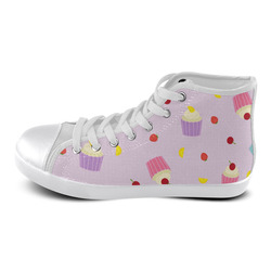 Fruity Cupcakes High Top Canvas Women's Shoes/Large Size (Model 002)