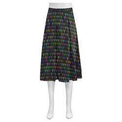 Triangles - Black Mnemosyne Women's Crepe Skirt (Model D16)