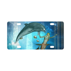 Underwater, dolphin with mermaid Classic License Plate