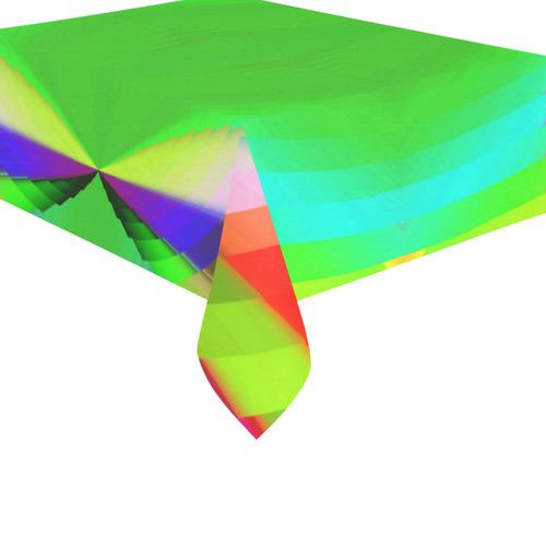 "Multicolor Shimmering Fractal Design Cotton Linen Tablecloth 60""x 84"""