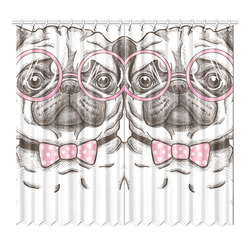 "pug in glasses Window Curtain 52""x96""(Two Piece)"