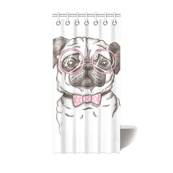 """pug in glasses Shower Curtain 36""""x72"""""""