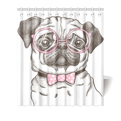 """pug in glasses Shower Curtain 66""""x72"""""""