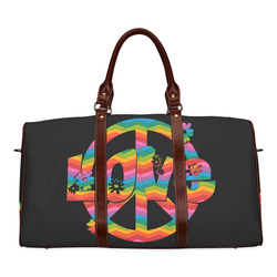 Colorful Love and Peace Waterproof Travel Bag/Small (Model 1639)
