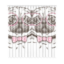 """pug in glasses Window Curtain 50""""x108""""(Two Piece)"""