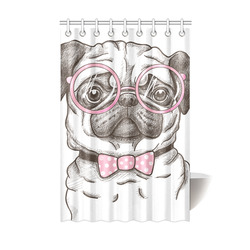 """pug in glasses Shower Curtain 48""""x72"""""""