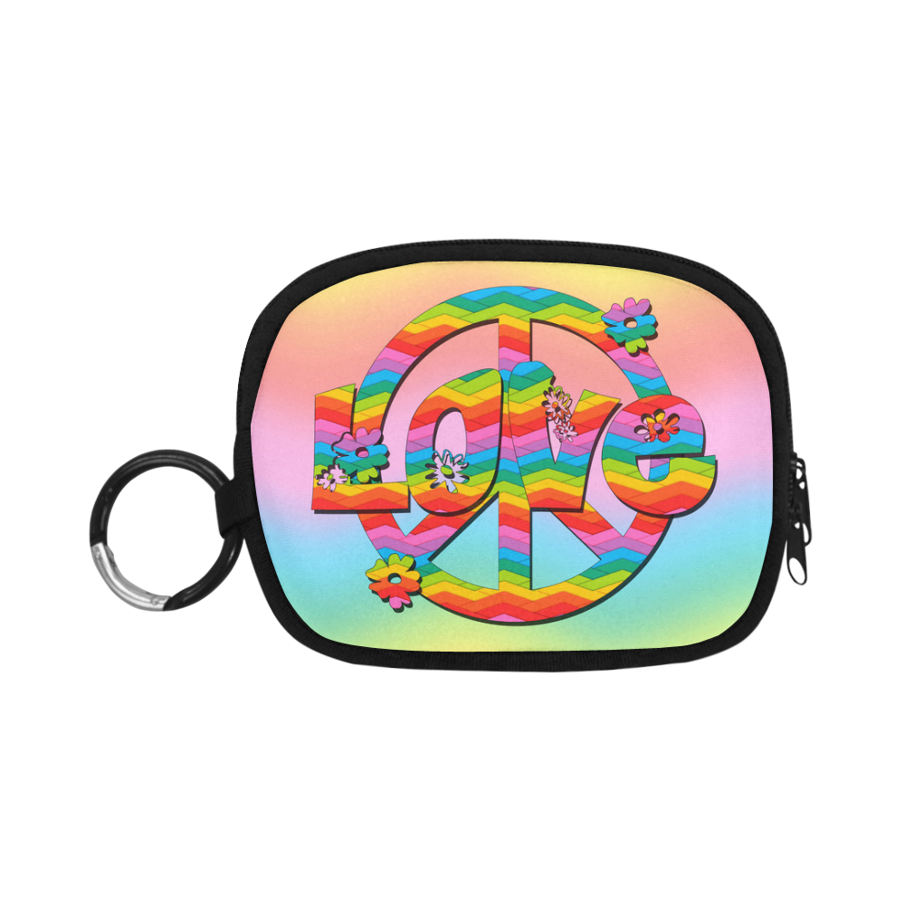 Colorful Love and Peace Background Coin Purse (Model 1605)