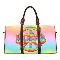Colorful Love and Peace Background Waterproof Travel Bag/Small (Model 1639)