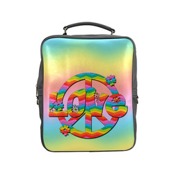 Colorful Love and Peace Background Square Backpack (Model 1618)
