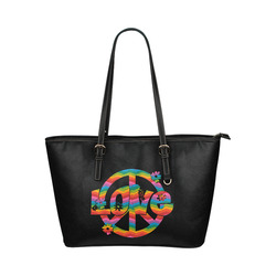 Colorful Love and Peace Leather Tote Bag/Small (Model 1651)