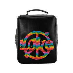 Colorful Love and Peace Square Backpack (Model 1618)