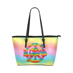 Colorful Love and Peace Background Leather Tote Bag/Small (Model 1651)