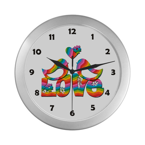 Love Birds with a Heart Silver Color Wall Clock