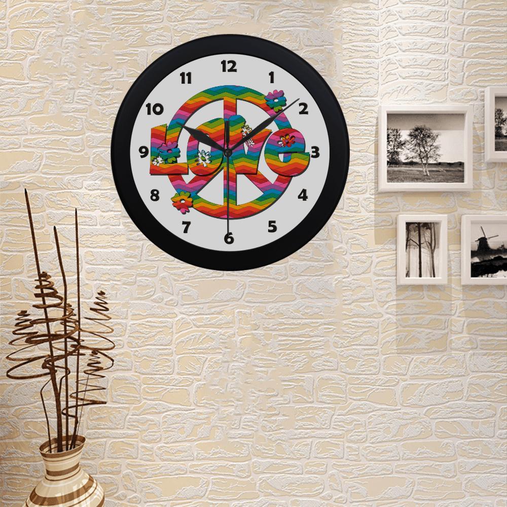 Colorful Love and Peace Circular Plastic Wall clock