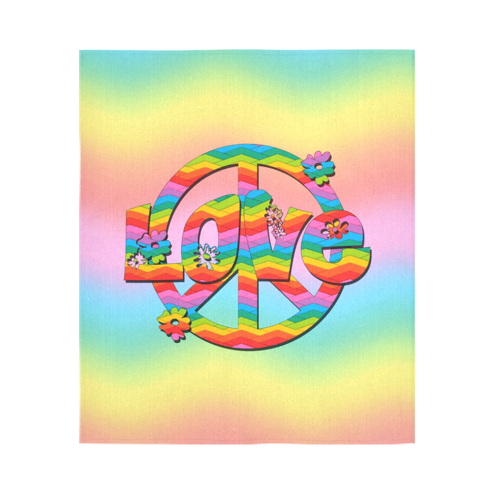 "Colorful Love and Peace Background Cotton Linen Wall Tapestry 51""x 60"""