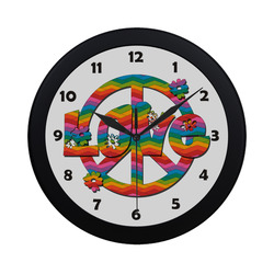 Colorful Love and Peace Circular Plastic Wall clock