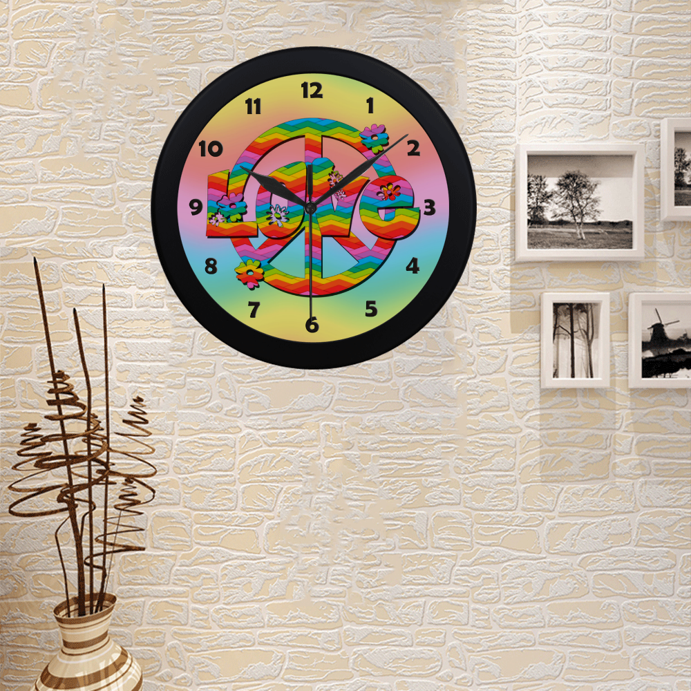 Colorful Love and Peace Background Circular Plastic Wall clock