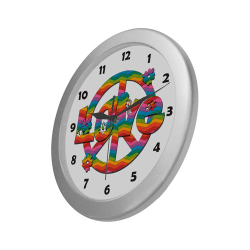 Colorful Love and Peace Silver Color Wall Clock