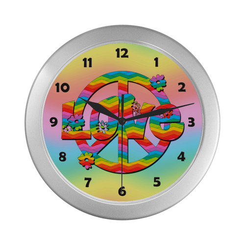 Colorful Love and Peace Background Silver Color Wall Clock