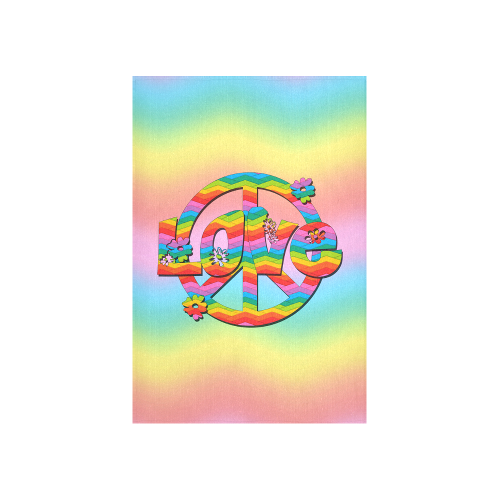 """Colorful Love and Peace Background Cotton Linen Wall Tapestry 40""""x 60"""""""