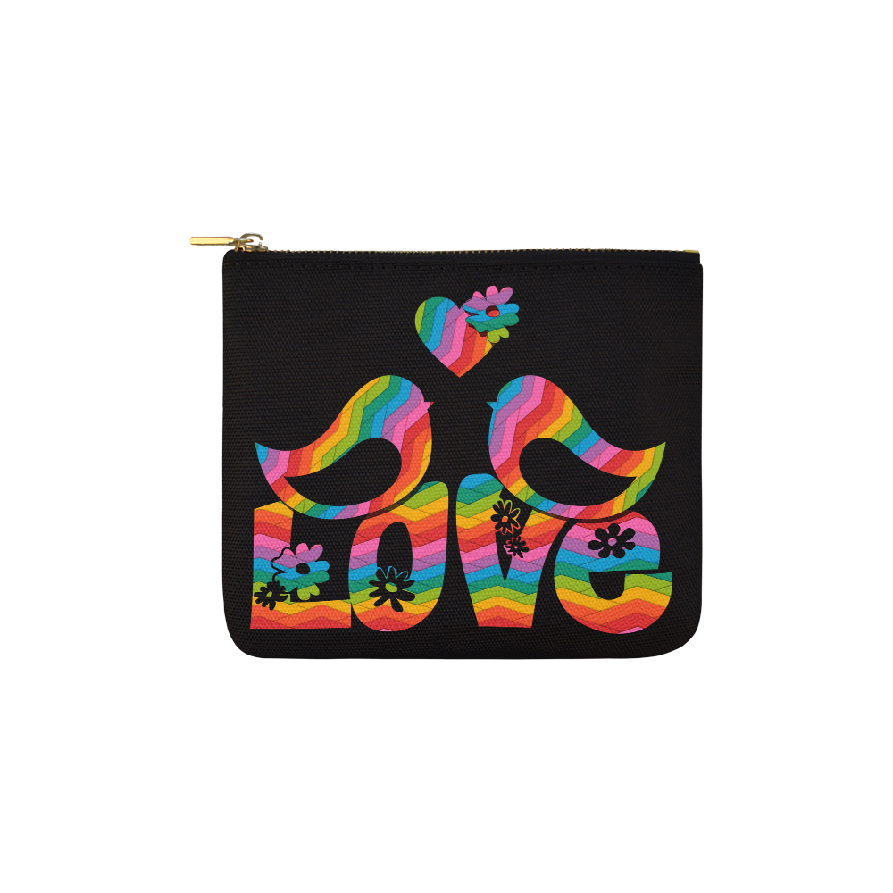Love Birds with a Heart Carry-All Pouch 6''x5''