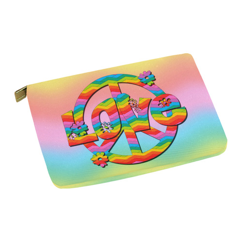 Colorful Love and Peace Background Carry-All Pouch 12.5''x8.5''