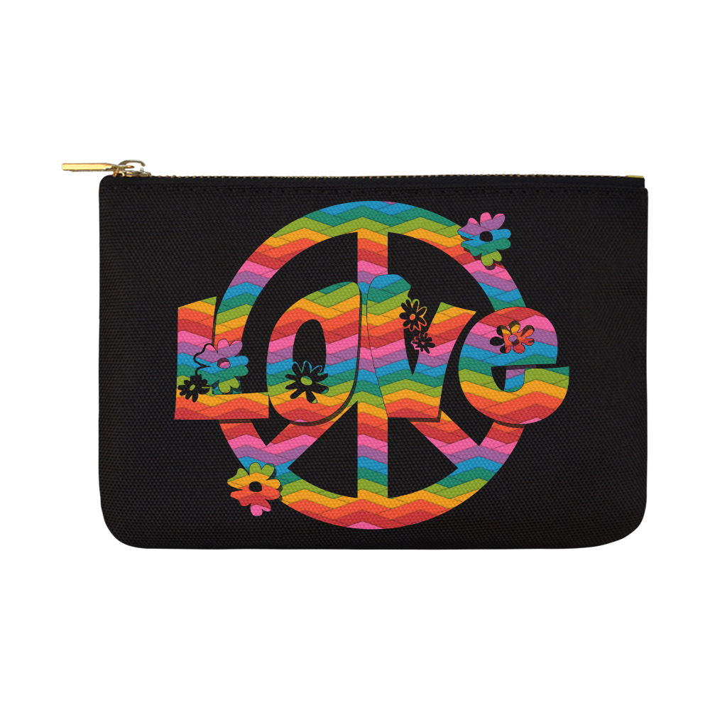 Colorful Love and Peace Carry-All Pouch 12.5''x8.5''
