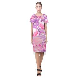 Flamingos Batik Paint Background Pink Violet Short Sleeves Casual Dress(Model D14)