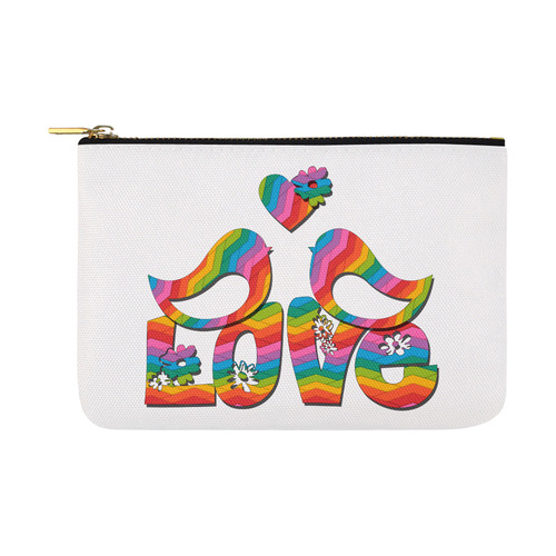 Love Birds with a Heart Carry-All Pouch 12.5''x8.5''