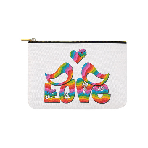 Love Birds with a Heart Carry-All Pouch 9.5''x6''