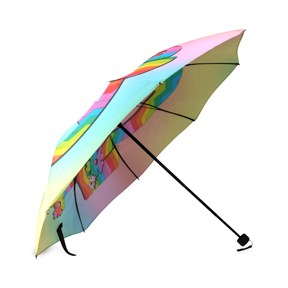 Colorful Love and Peace Background Foldable Umbrella (Model U01)