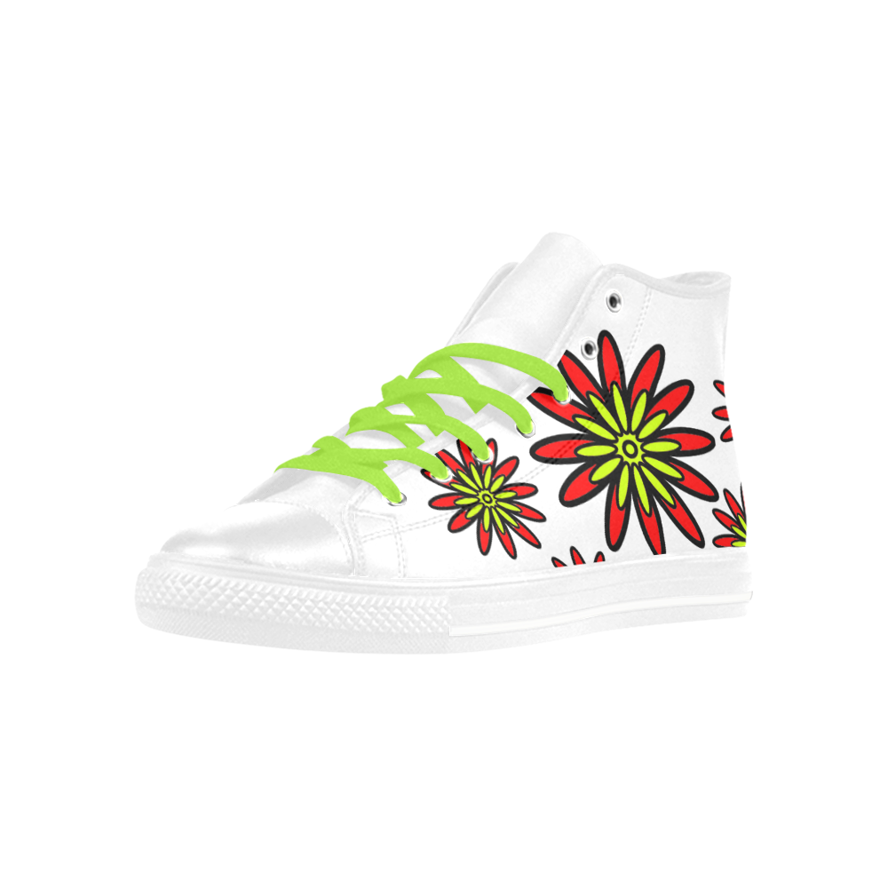 Red Flowers Aquila High Top Microfiber Leather Women's Shoes (Model 032)
