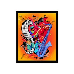 "Colorful Red Hot Jazz Music Art Print Poster 16""x20"""