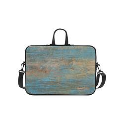 "Rustic Wood  Blue Weathered Peeling Paint Laptop Handbags 10"""