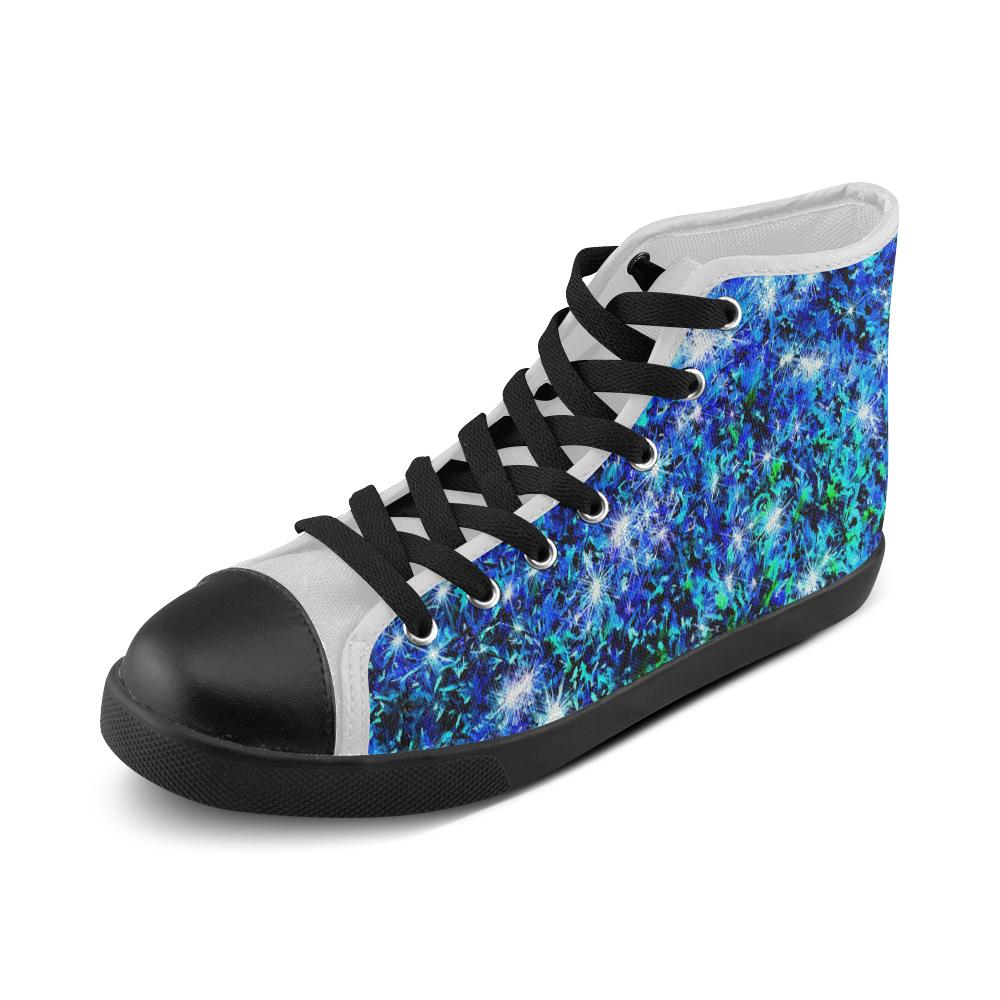 Sparkling Blue - Jera Nour Men's High Top Canvas Shoes (Model 002)