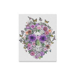 "flower skull pink, orange,violett Canvas Print 16""x20"""