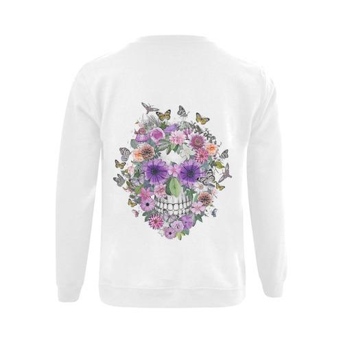 flower skull pink, orange,violett Gildan Crewneck Sweatshirt(NEW) (Model H01)
