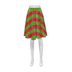 Red and Green Stripes Athena Women's Short Skirt (Model D15)