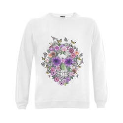 flower skull pink, orange,violett Gildan Crewneck Sweatshirt(NEW) (Model H01)
