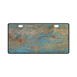 Rustic Wood  Blue Weathered Peeling Paint License Plate