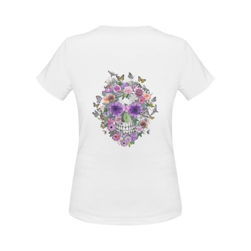 flower skull pink, orange,violett Women's Classic T-Shirt (Model T17)