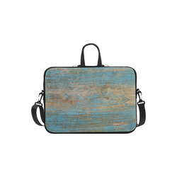 Rustic Wood  Blue Weathered Peeling Paint Laptop Handbags 11""