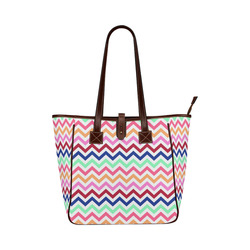 Multicolor CHEVRONS Pattern Pink Turquoise Coral Blue Red Classic Tote Bag (Model 1644)