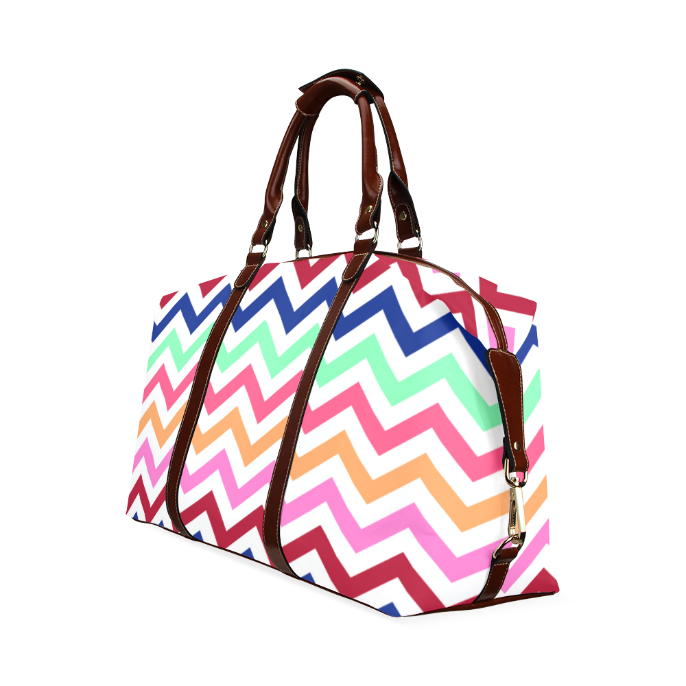 Multicolor CHEVRONS Pattern Pink Turquoise Coral Blue Red Classic Travel Bag (Model 1643) Remake