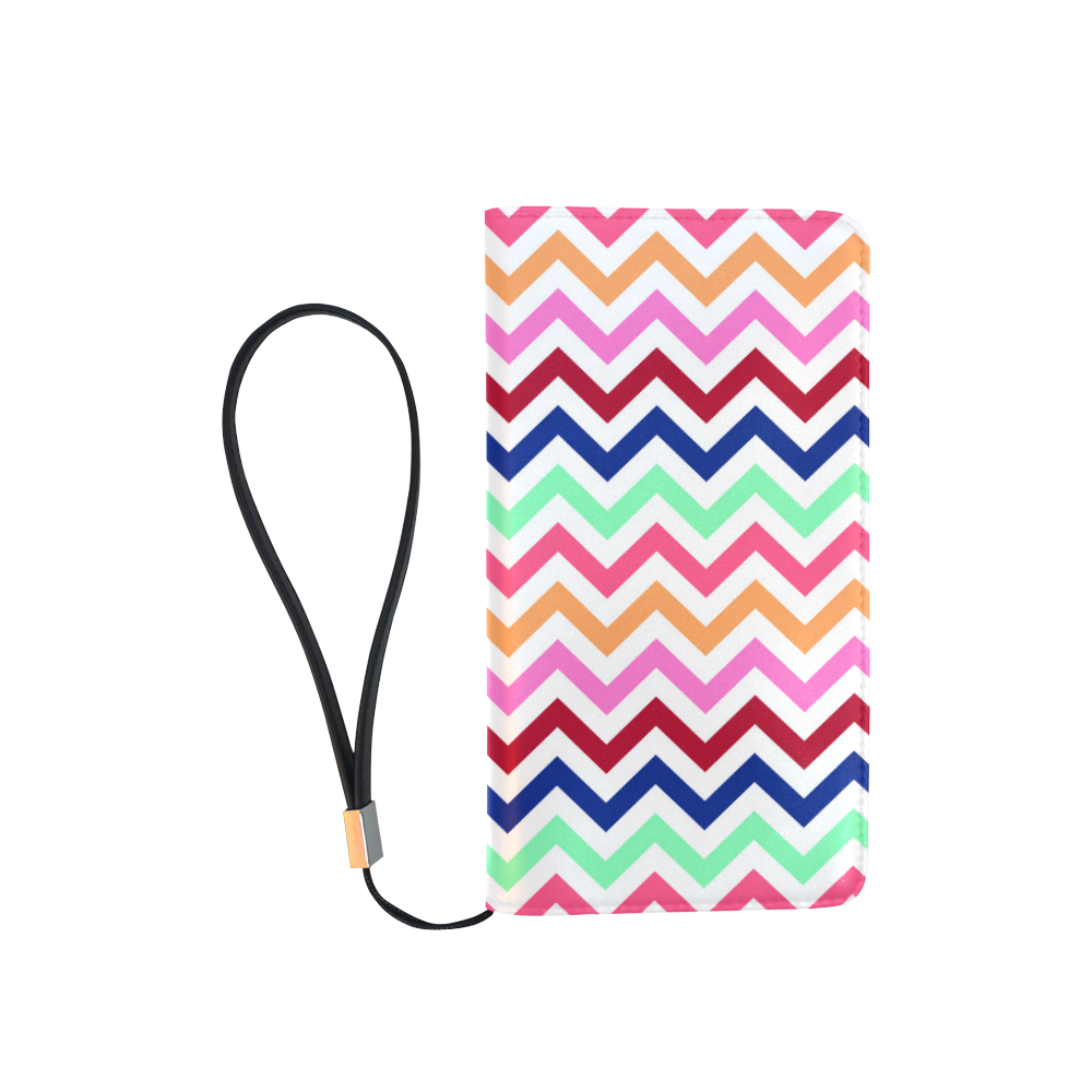Multicolor CHEVRONS Pattern Pink Turquoise Coral Blue Red Men's Clutch Purse (Model 1638)