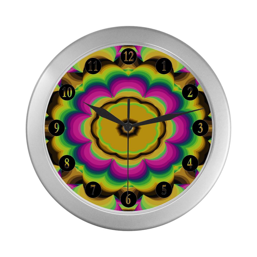 Kalidoscope Silver Color Wall Clock