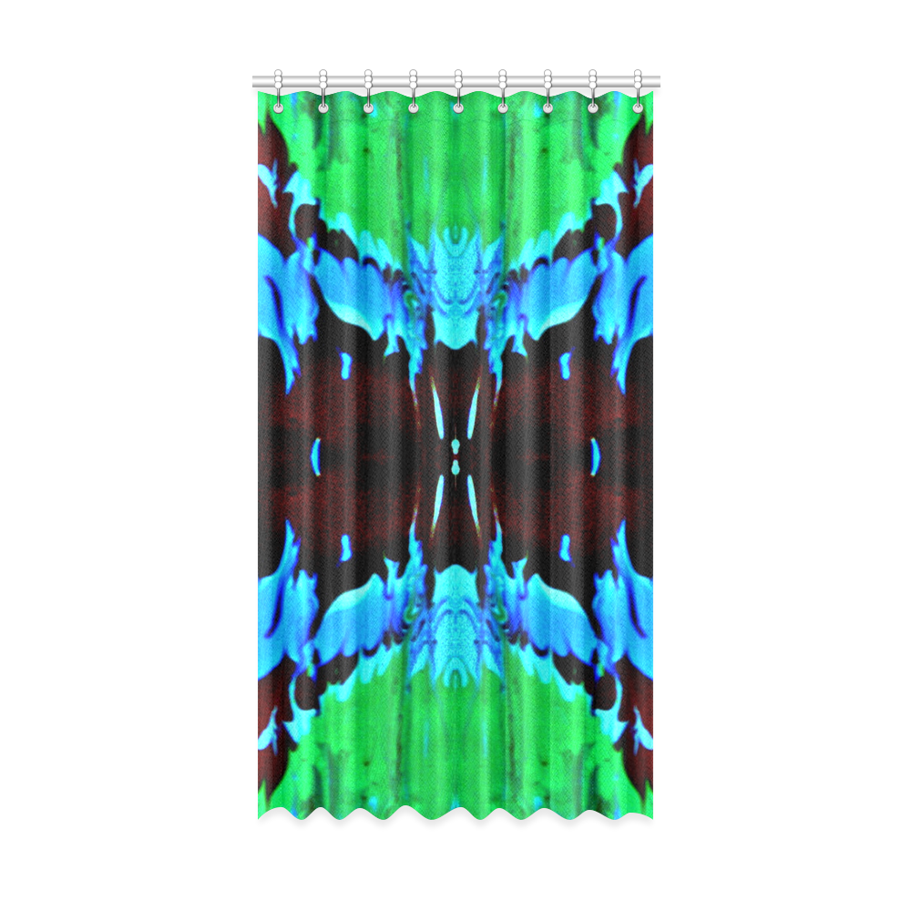 """Abstract Green Brown, Blue Red Marbling Window Curtain 52"""" x96""""(One Piece)"""