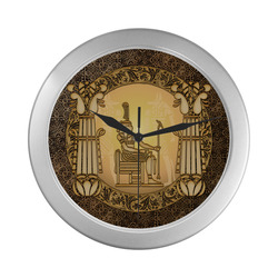 Agyptian sign Silver Color Wall Clock