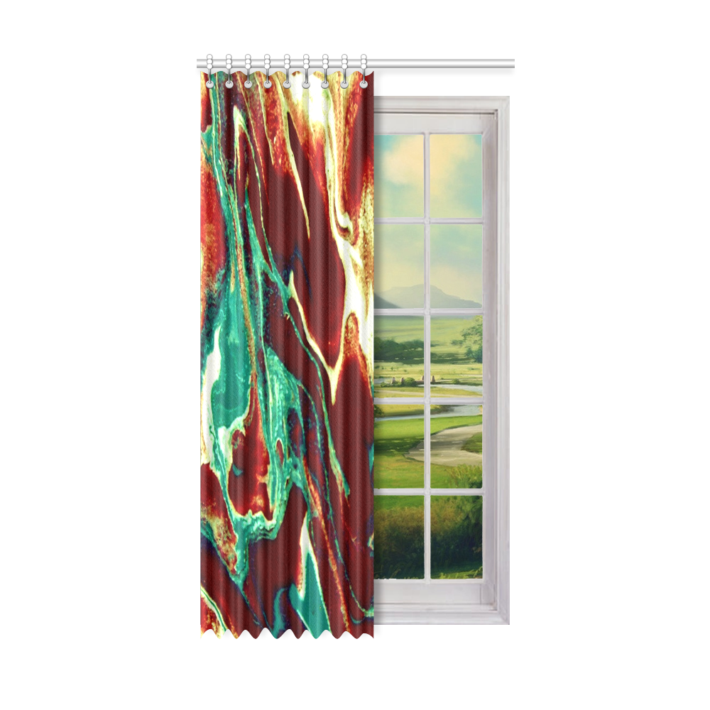 """Gold Green Brown Marbling Window Curtain 52"""" x96""""(One Piece)"""